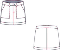 Technical sketch of mini skirt. Casual clothes.