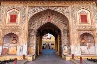 Jaipur City Palace gates, traditional decoration of India