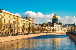 Saint Isaac Cathedral across Moyka river, Saint Petersburg, Russia
