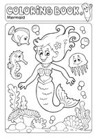 Coloring book mermaid topic 4