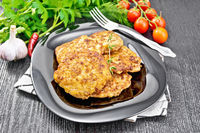 Fritters meat in plate on wooden board