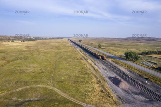 coal freight trains at Nebraska Sandhills