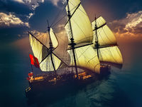 old ship in sea sunset 3d rendering