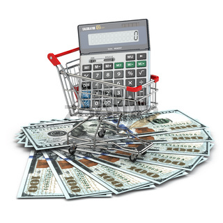 Shopping cart with calculator on dollar banknotes.