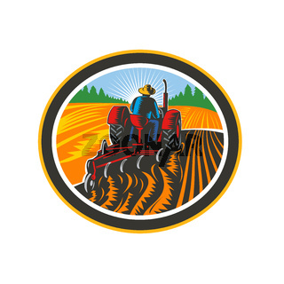 Farmer Driving Tractor Plowing Field Circle Retro