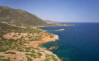 Aerial view on coast and sea near Kalo Horafi or Vossako beach on Crete, Greece.