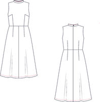 Vector technical sketch of sleeveless dress. Fashion template.