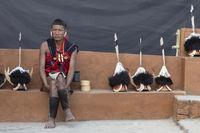 NAGALAND, INDIA, January 2000, Naga Tribal with caps