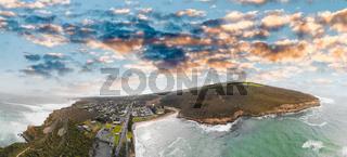 Aerial view of Port Campbell coastline, Australia