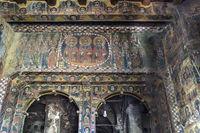 Christliche Wandmalerei, orthodoxe Kirche Abreha wa Atsbaha, Gheralta Region, Tigray, Äthiopien