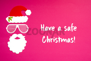 Santa Claus Paper Mask, Pink Background, Have A Safe Christmas