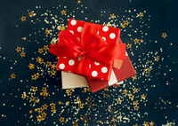Christmas gift boxes on table