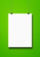 White poster hanging on a green wall with clips