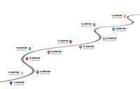 Railway timeline 3d vector illustration. Infographic on white