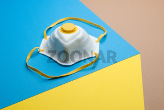 antiviral medical mask protection from the global epidemic, coronavirus COVID-19 pandemic. Surgical protective mask, respiratory bandage on the face. prevention of the spread of virus, flu