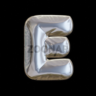 Silver Balloon Letter E, Realistic 3D Rendering