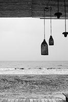 Deserted beach bar by the sea