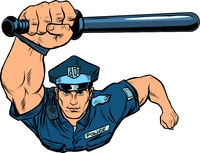 Police officer with a baton