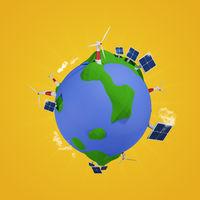 Alternative energy concept, 3d low poly world