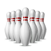 Group of ten bowling pins. Skittles with red stripes for Sport competition or Activity and fun game.