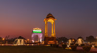 The Canopy and the Gate of India, night illumination, New Delhi