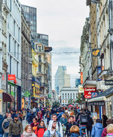 Shopping street, tourists, Brussels cityscape