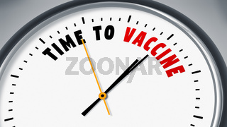 clock with text time to vaccine