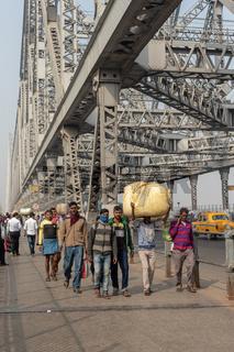 Famous Howrah Bridge in Kolkata.It is one of the ıconic landmarks of Kolkata, west Bengal.