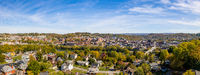 Aerial drone panorama of the downtown area and university in Morgantown, West Virginia