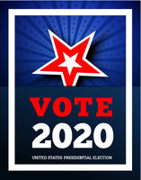 Vote 2020 in USA. Vector illustraion background with star