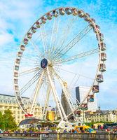 Ferris wheel, Brussels cityscape, Belgium