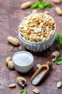 Bowl of salted peanuts.