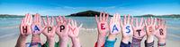 Children Hands Building Word Happy Easter, Ocean Background