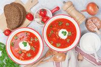 Beetroot tomato soup borscht