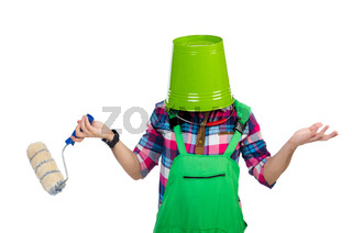 Funny painter isolated on white