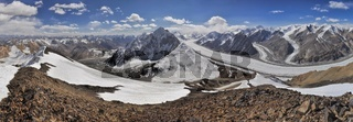 Scenic panorama of Fedchenko glacier in Pamir mountains in Tajikistan