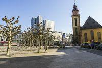 St. Pauls Church, Modern Buildings and Empty Promenade in Frankfurt During the Coronavirus Crisis