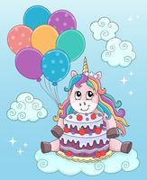 Unicorn with cake and balloons theme 2