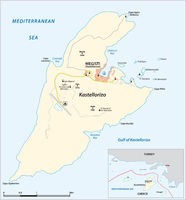 vector map of the greek mediterranean island of Kastellorizo