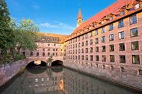 Nurnberg. Pegnitz river weaterfront in Nuremberg historic architecture view