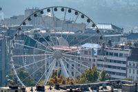 Budapest Eye, ferris wheel attraction on city background in Budapest.