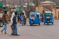 blue color auto rickshaw known as Tuk tuk, Ethiopia