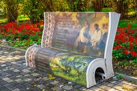 Art objects in the form of benches in Odessa, Ukraine