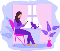 Work at home, freelance. Girl works on a smartphone near the window. A young woman sits on a chair in the house, a cat at the window. Vector illustration