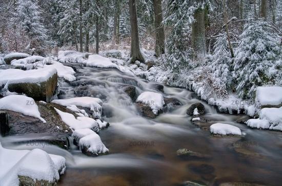Bodewasserfall Winter - waterfall river Bode in Winter 01