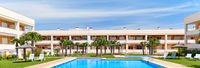 Alicante, Spain - June 2, 2020: Modern residential complex with swimming pool, rented apartment summer holidays, new home buying, loan and lending concept, panoramic image, Spain, Costa Blanca. España