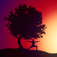 man doing yoga under a tree in the sunset