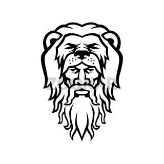 Hercules Wearing Lion Skin Head Mascot Black and White