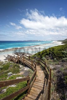 Western Australia – rough costline with stairway to the beach