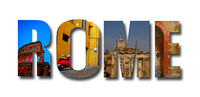 Rome collage banner on white